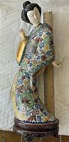 """Vintage Chinese Cloisonne Geisha Figurine. Carved Face & Hand.12""""w Stand"""