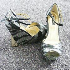 Black silver platform curved wedge heels ankle strap sandal shoes Size 6 39