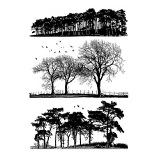 Crafty Individuals TREES GALORE Unmounted Red Rubber Stamp