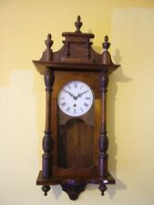More details for nice old quality repro wooden wall clock not working  repair all parts present