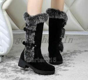 Womens Winter Fur Snow Trim Faux Suede Block Chunky Heels Warm Mid-Calf Boots