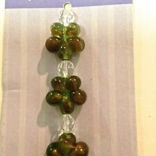 New Elegant Glass Beads~Floral Shaped Green and Brown Beads~Jewelry Fundamentals