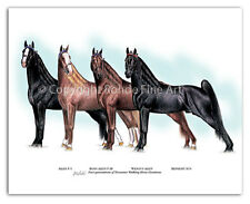 New listing Tennessee Walker walking Horse Art - Famous Stallions 4 Generations painting Wow