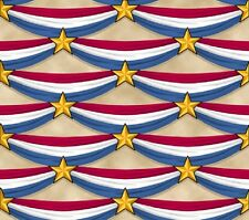 Patriotic Bunting-Cream B/G-Red, White & Blue-Quilts of Valor-American Fat 1/4