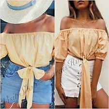 SALE Off Shoulder Bardot Yellow Gingham Cropped Top Size S 8 UK 4 US ❤