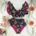 Swimwear Women Sexy High Waist Bikini Print Shoulder Ruffle Bathing Suit Push Up