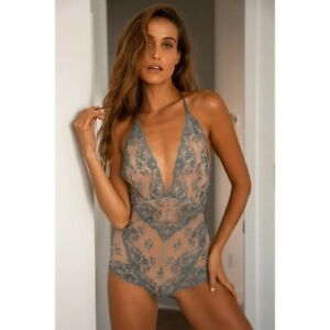 Free People Too Cute To Handle Lace Bodysuit Sand Blue Mist NWT Lingerie Small