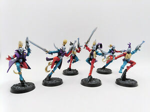 Warhammer 40k Harlequins - 5 Troupe and Troupe Master- Fully painted