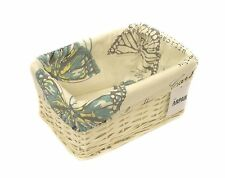 Storage Hamper Basket Small White Wicker With Cloth Lining Butterfly