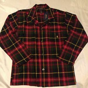 NWT Polo Ralph Lauren Men's Red Plaid Sleep Shirt Pajama Top Size M Medium