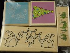 Mounted Rubber Stamps 4 Pcs Whimsical Holiday Christmas Tree Snowflake Penguins
