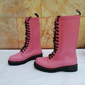 "DOC DR.MARTENSB Vulcanized rubber Pink ""14 eye ""  sz 7 1460 14-hole boots"