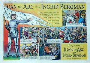 Ingrid Bergman is Joan of Arc - 1948 half-page color Sunday comic Movie ad page