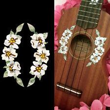 Ukulele - Hibiscus Hawaiian Flowers Rosette Purfling Decorative Inlay Stickers