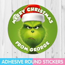 Personalised Grinch Party Christmas Stickers, Thank you, Sweet Cone