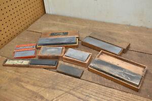 L610- 10 Antique Vintage Sharpening Stones - Razors Tools Etc