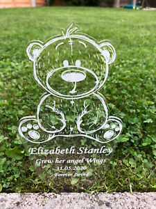 Personalised Teddy Bear Memorial Grave Marker Plaque Decoration - Baby Child