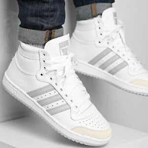 New adidas Originals  Top Ten Mens white Leather Hi Top Athletic sneaker 8-12