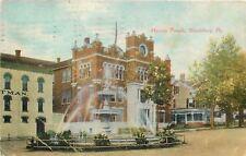 Bloomburg Pennsylvania~Masonic Temple~Street Fountain~Victorian Homes~1908 PC