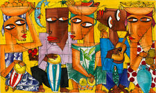 CUBAN ART #134 ** DIEGUEZ ** EL GRUPO DE LABIOS 60X36 SIGNED ON CANVAS