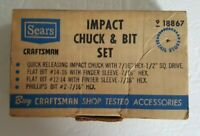 Vintage Craftsman Impact Chuck & Bit Set - Model 9 18867 911867 Sears