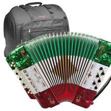 ROSSETTI ACCORDION 34 BUTTON 3 SWITCH GCF 12 BASS RED WHITE GREEN + STAGG BAG
