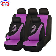 11 PCS Car Seat Covers Purple | Breathable Polyester Mesh | Embroidery Butterfly