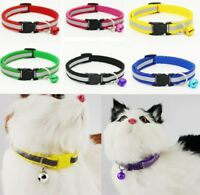 Adjustable Reflective   Nylon Cat Safety Collar w/Bell For Kitten Cat FA