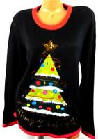 Holiday Time black green embroidered sequins merry  ugly Christmas sweater XXL