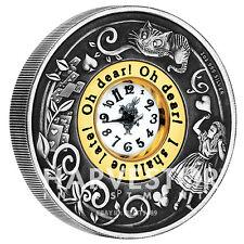 2015 ALICE IN WONDERLAND CLOCK COIN - 2 OZ. SILVER COIN - REAL CLOCK - OGP COA