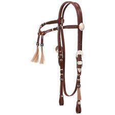 Tough-1 Royal King Rawhide Braided Futurity Brow Headstall Horse Natural