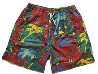 Vintage Mens Board Shorts Size L Beach 90s Bright Loud Surfing Sports