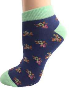 Floral Pattern Ankle Low Cut 2-pair Pack Cotton Socks W7005