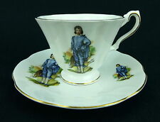Rosina Gainsborough Blue Boy Cup and Saucer Colonel England Fine Bone China Gold