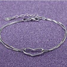 Women Fashion 925 Sterling Silver Plated LOVE  Heart Adjustable Charm Bracelet