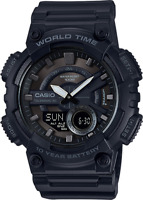 Casio Men's Quartz World Time Ana-Digi Black Resin Band 46mm Watch AEQ110W-1BV