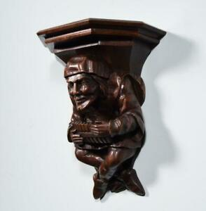 *Antique Gothic Walnut Wood Corbel/Shelf/Sconce with a Hand Carved Jester/Joker