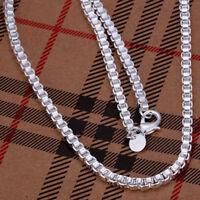ASAMO Damen Herren Halskette 925 Sterling Silber plattiert Panzerkette HA1016