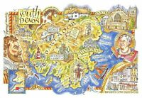 South Devon Map Postcard, Torquay, Exeter, Plymouth, Dartmoor, Dawlish, BY5