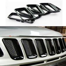 For 2011- 2016 Jeep Compass ABS Trim Black 7Pcs  Front Grille Vent Hole Cover