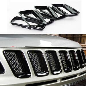 For 2011- 2016 Jeep Compass ABS Trim Black 7Pcs  Front Grille Vent Hole Cover