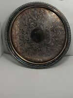 """Vintage Wm Rogers #571 Round Silver Plate Serving Tray Dia. 12.25"""" x 1.25"""""""
