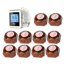 Wireless Restaurant Service Paging Calling System 1Watch Receiver+10xCall Button