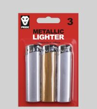 3 Metallic Silver & Gold refillable Lighters