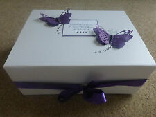 Personalised Wedding Memory Box Cadburys Purple Butterfly Engagement Keepsake