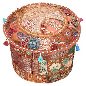 Bohemian Round Pouffe Ottoman Cover 16 Inch Cotton Patchwork Embroidered Brown