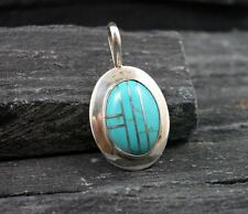 ANNA W Signed 925 Sterling Silver Turquoise Inlay Inlaid Mosaic Pendant