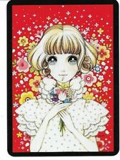 G-45 swap playing card MINT cond RETRO STYLE CUTE BIG EYED GIRL HOLDING FLOWERS