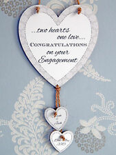 Two Hearts One Love Personalised Engagement Heart Plaque - Engaged Couple Gift