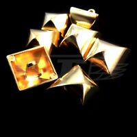 PACK OF 10, 18 x 18 GOLD METAL BUTTON BUTTONS SHAPED STUD BTN (28025-40)